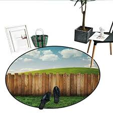 Amazon Com Farmland Home Decor Area Rug Wooden Garden Fence On Grassland Pastoral Environment With Cloudy Sky Design Indoor Outdoor Round Area Rug 51 Diameter Green Brown Kitchen Dining