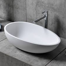 stone resin oval bathroom vessel