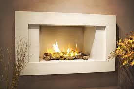 wall gas fire limestone fireplace