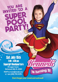 Supergirl Pool Party Invitation Super Hero Girls Pool Mujer