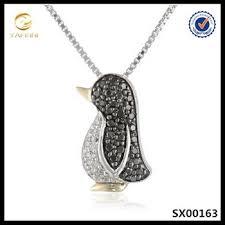 14k gold black white diamonds penguin