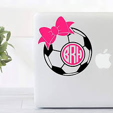 Amazon Com Custom Soccer Vinyl Decal With Monogram And Bow For Car Windows Laptops Yeti Cups And More Handmade