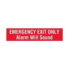Emergency Exit Only Alarm Will Sound Vinyl Decal 4 X 18 Carlton Industries