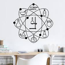 Laboratory Atom Pattern Vinyl Wall Decal Science School Chemistry Office Indoor Decor Stickers Wateroroof Art Wall Decor Z303 Wall Stickers Aliexpress