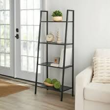 bookshelf leaning wall storag shelf