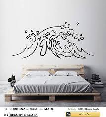 Amazon Com Ocean Wave Decal Sea Wall Decor Nature Mural Nautical Design Beach Theme Vinyl Sticker Surf Art Modern Stencil Modern Decoration Tt2555 Home Kitchen