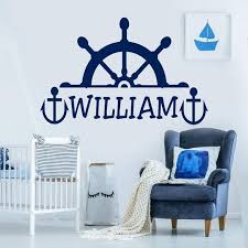 Super Deal D0495 Rudder Wall Decal Custom Boy Girl Name Decals Anchor Vinyl Sticker Kids Room Personalized Name Mural Nautical Nursery Decor S531 Cicig Co