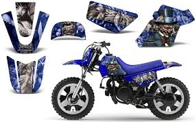 Amazon Com Mad Hatter Amrracing Mx Graphics Decal Kit Fits Yamaha Pw50 All Years Blue Silver Bg Automotive
