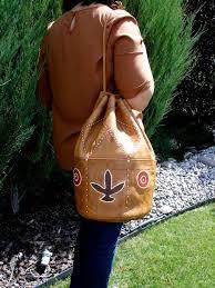 bucket bag brown shoulder hand stitch