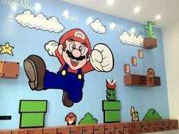 A Gamer S Wall Mural Takes On A New Dimension Mario Room Super Mario Room Mario Bros Room