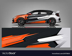 Car Decal Wrap Design Graphic Abstract Stripe Vector Image