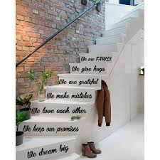 Shop Quote We Are Family Love Decal Staircase Stickers Stair Vinyl Sticker Interior Art Murals Sticker Decal Size 22x35 Color Black Overstock 14646299