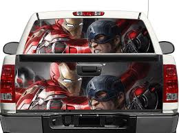 Product Ironman And Captain America Rear Window Or Tailgate Decal Sticker Pick Up Truck Suv Car