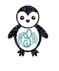 Glitter Penguin Car Decal Penguins Vinyl Decals Decals