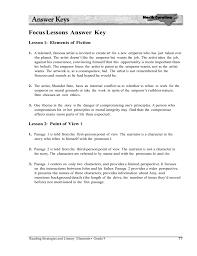 Focus Lessons Answer Key Lesson 1 Elements Of Fiction 1 A