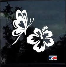 Butterfly Hibiscus Flower Car Window Decal Sticker Car Decals Flower Car Car Window Decals