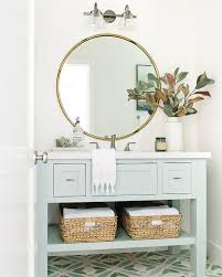 light blue single washstand with round