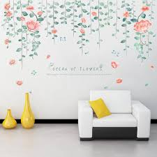 Large Flower Vine Wall Stickers Diy Pink Flower Wall Decals For House Living Room Bedroom Wedding Room Decoration Wallpaper Wall Stickers Aliexpress