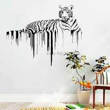 Large Tiger Wall Bengal Decal Stripe Black And White Design Vinyl Uk Clemson Giant Decor Vamosrayos