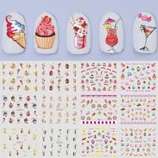 12pcs Set Nail Sticker Ice Creams Cake Water Decal Accessories Summer Designs Manicure Nail Art Transfer Sticker Trbn817 828 Stickers Decals Aliexpress