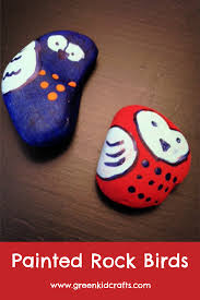 painted rocks bird craft for kids