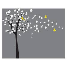 Tree Wall Decal White Cherry Blossom Wall Decal Flowers Blowing In Wind Contemporary Wall Decals By Wall Decal Source