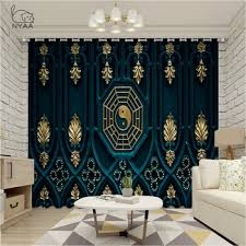 Black And White Tai Chi Curtains In The Living Room Japanese Decoration Curtains Kids European Luxury Curtain Micro Shading Radristeimera