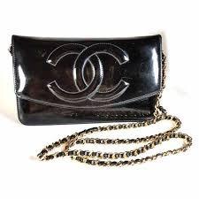 chanel cc black patent leather wallet