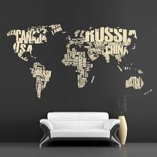 Map Wall Decal Letter Map Large Wall Decor Vinyl Sticker 404c Oversized Wall Decor Cool Walls Wall Decals