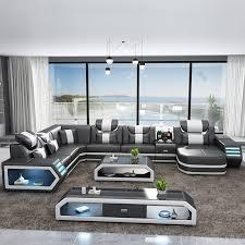 led lights living room sofa set