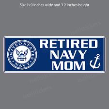 Retired Navy Mom Military Bumper Sticker Window Decal
