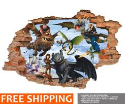 How To Train Your Dragon 3d Wall Decal Hiccup Night Fury Etsy