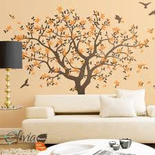Large Wall Tree Vinyl Decal With Bird Stickers Nature Mural Etsy