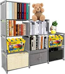 Amazon Com Pengke Kids Bookshelf 9 Cubes Book Shelf Office Storage Shelf Plastic Storage Cabinet For Book Plants Clothes Shoes Toys Grey Home Kitchen