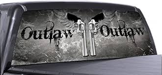 Amazon Com Vuscapes Outlaw Guns Rear Window Truck Graphic Decal Suv View Thru Vinyl Automotive