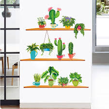 Green Potted Plant Wall Sticker With Shelves Cactus Bonsai Wall Mural Poster Art Cabinet Dining Room Self Adhesive Wallpaper Wall Stickers Aliexpress