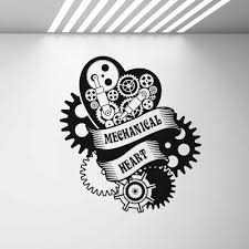 Mechanical Heart Wall Vinyl Decal Boy Bedroom Steampunk Engine Garage Art Wall Stickers Removable Home Room Decor Decals G465 Wall Stickers Aliexpress