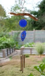 wind chime driftwood beach glass copper