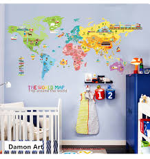 World Map Kids Room Large Wall Stickers Wallpaper Aesthetic Bedroom Decor Living Room Nursery Wall Decals House Decoration Wall Stickers Aliexpress