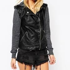 abercrombie fitch leather look hooded