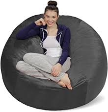 Amazon Com Sofa Sack Plush Ultra Soft Bean Bags Chairs For Kids Teens Adults Memory Foam Beanless Bag Chair With Microsuede Cover Foam Filled Furniture For Dorm Room Charcoal