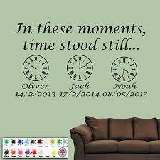 Family Wall Art Sticker Personalised In These Moments Time Stood Still Clocks Ebay