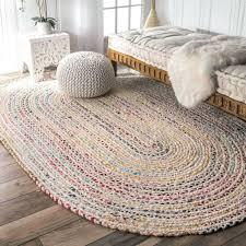 handmade rug braided cotton 5 x 8