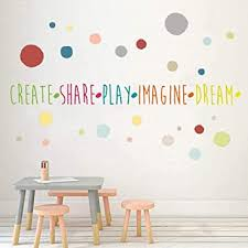 Amazon Com Inspirational Wall Decals For Playroom Rules Create Share Play Imagine Dream Positive Words Wall Stickers Polka Dot Quote Wall Decor For Kids Room Classroom Baby