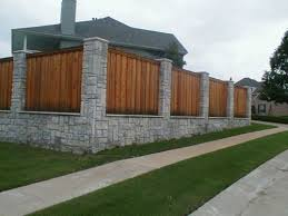 A Stone Column And Wood Fence Idea Wood Fence Design Fence Design Backyard Fences