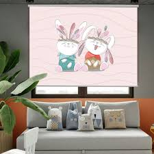 Cartoon Rabbit Elephant Light Filtering Curtain Drop For Kids Room Window Shade Pink Purple Blinds Shades