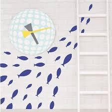 Amazon Com Ocean Fish Wall Decal Under The Sea Vinyl Wall Stickers For Kids Room Bedroom Bathroom Nursery Decor Dark Blue Home Kitchen