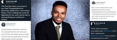 "Princeton's first Black valedictorian Nicholas Johnson: ""in love ..."