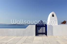 blue santorini greece wallpaper mural