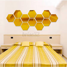 Unbranded Generic 120pcs Mirror Hexagon Removable Diy Wall Sticker Art Decal Home Decor 126x110mm